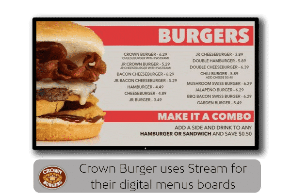 Digital Menu Signage showing Special Items on Menu that rotate.