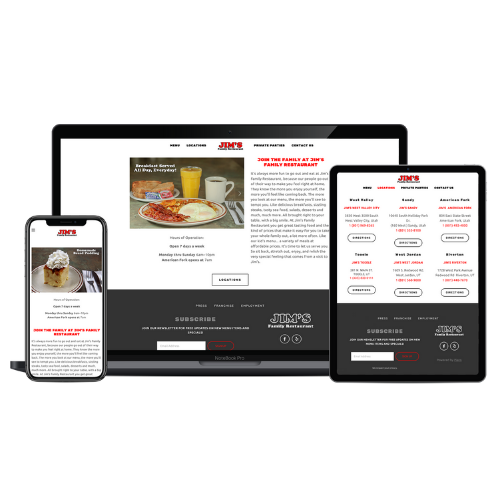 Website Design Portfolio Jim's Family Restaurant - STREAM