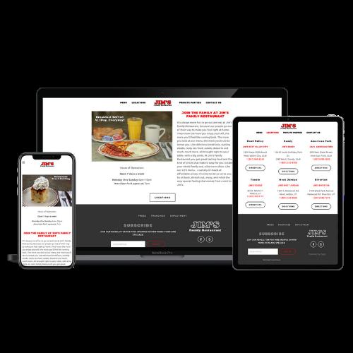 Website Design Portfolio Jim's Family Restaurant - STREAM